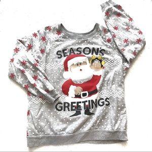 Christmas Sweatshirt Santa Seasons Greetings Gray